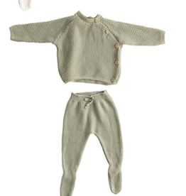 Creative Co-Op Cotton Knit Layette Set - Sage