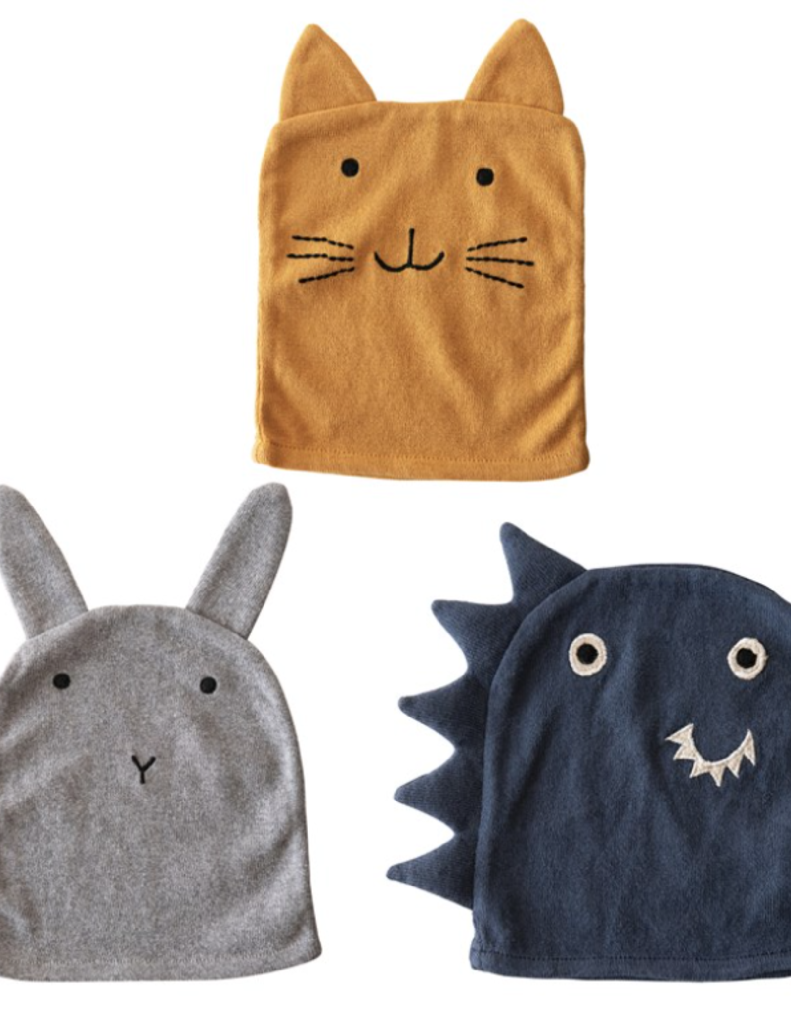 Creative Co-Op Assorted Cotton Animal Wash Cloth
