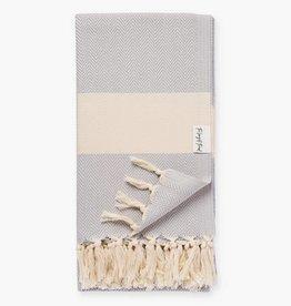 The Longest Thread Herringbone Turkish Bath Towel - Gray
