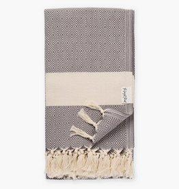 The Longest Thread Diamond Turkish Bath Towel - Dark Gray