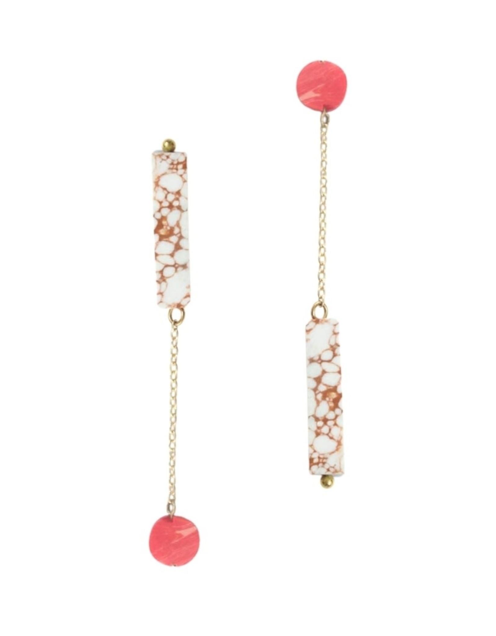Rover & Kin Rover & Kin | Reverse Peach Claywork Earrings