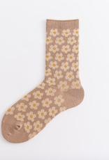Cotton Daisy Field Socks (Khaki)