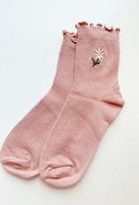Stay Forever   Floral Frills Sock (Pink)