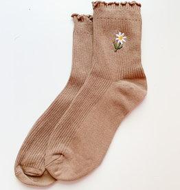 Stay Forever | Floral Frills Sock (Khaki)