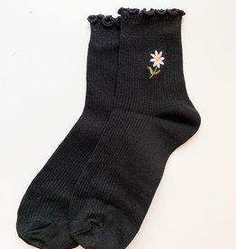 Stay Forever | Floral Frills Sock (Black)