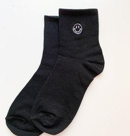 Stay Forever | Smiley Face Socks - Black
