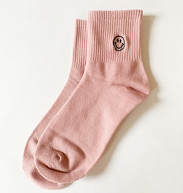 Stay Forever | Smiley Face Socks - Pink