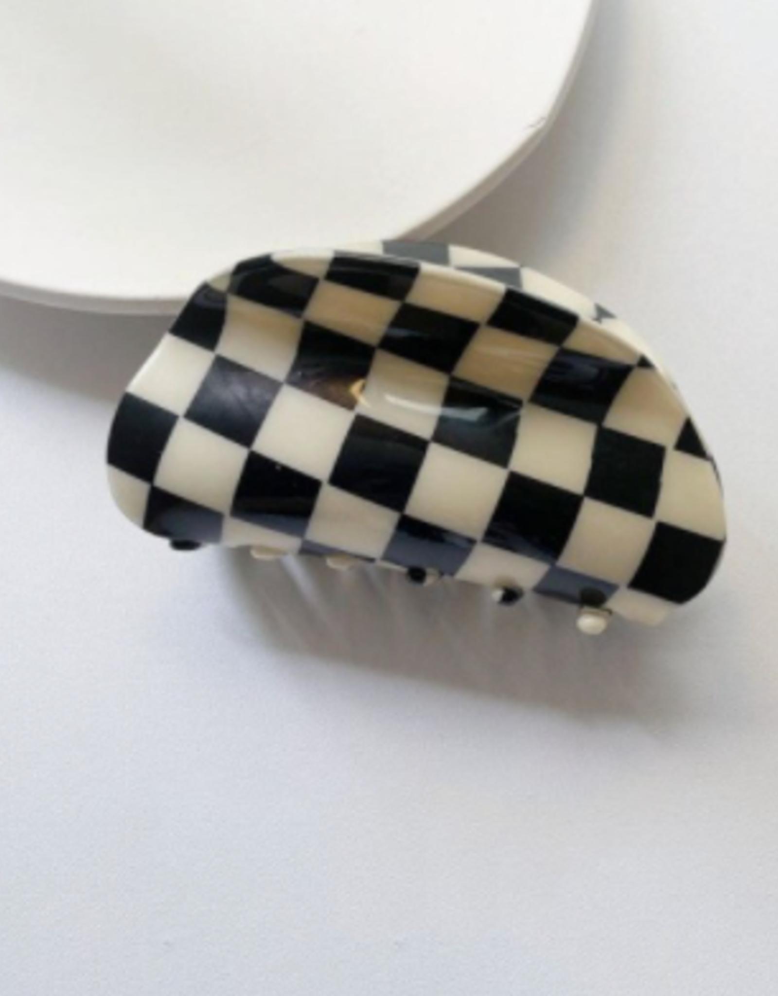 B&W Checkered Claw Clip