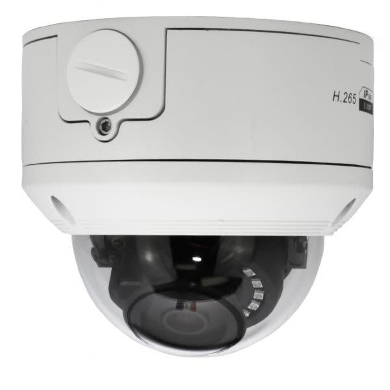 5MP Vandal Resistant IP Network Dome Camera, PoE, IR, 2190P, 2.8mm Fixed Lens