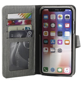 Uolo Folio Slim wallet case, iPhone XS/X, Grey