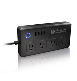 UltraLink Smart Home Smart WiFi Surge Protector 4-outlet - Black