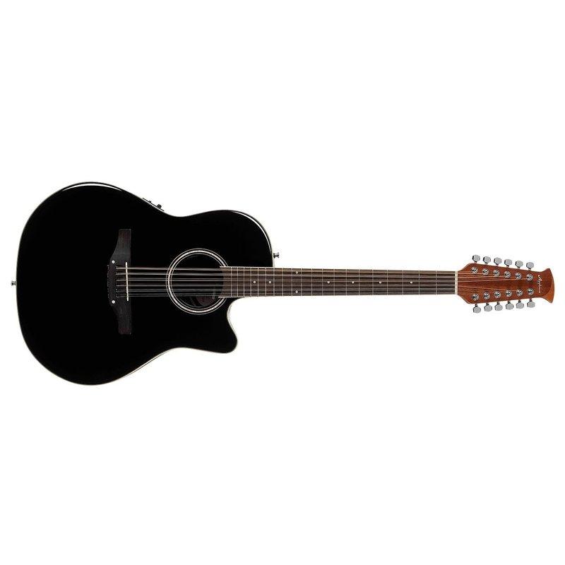 Balladeer Mid Depth 12-String Acoustic-Electric Guitar, Black