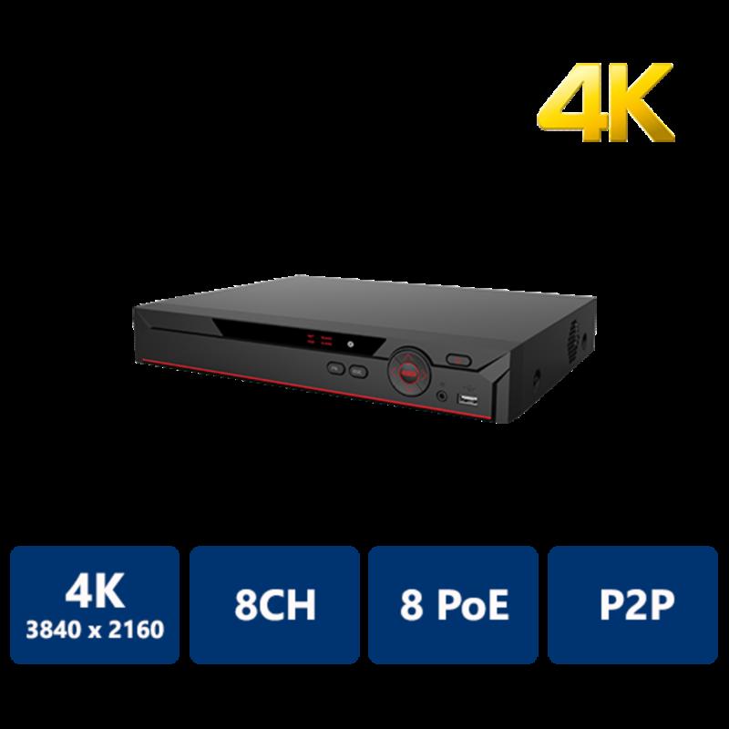 NVR recorder, 8 CH IP 4K, 2TB HardDrive