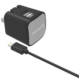 Digipower IS-AC2DL - Wall Charger 2.4amp w/ 5ft Lightning 2-Port MFI