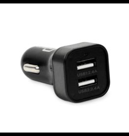 Caseco Bullet 2 Port 4.8 Amp USB Car Charger 12v DC (Black)