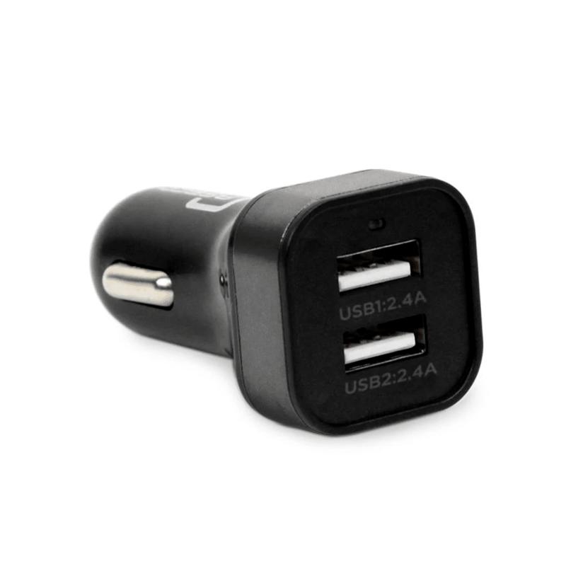 Bullet 2 Port 4.8 Amp USB Car Charger (Black)
