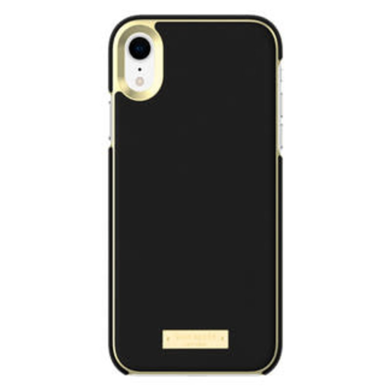 Wrap Case Saffiano Black Gold Plate for iPhone XR