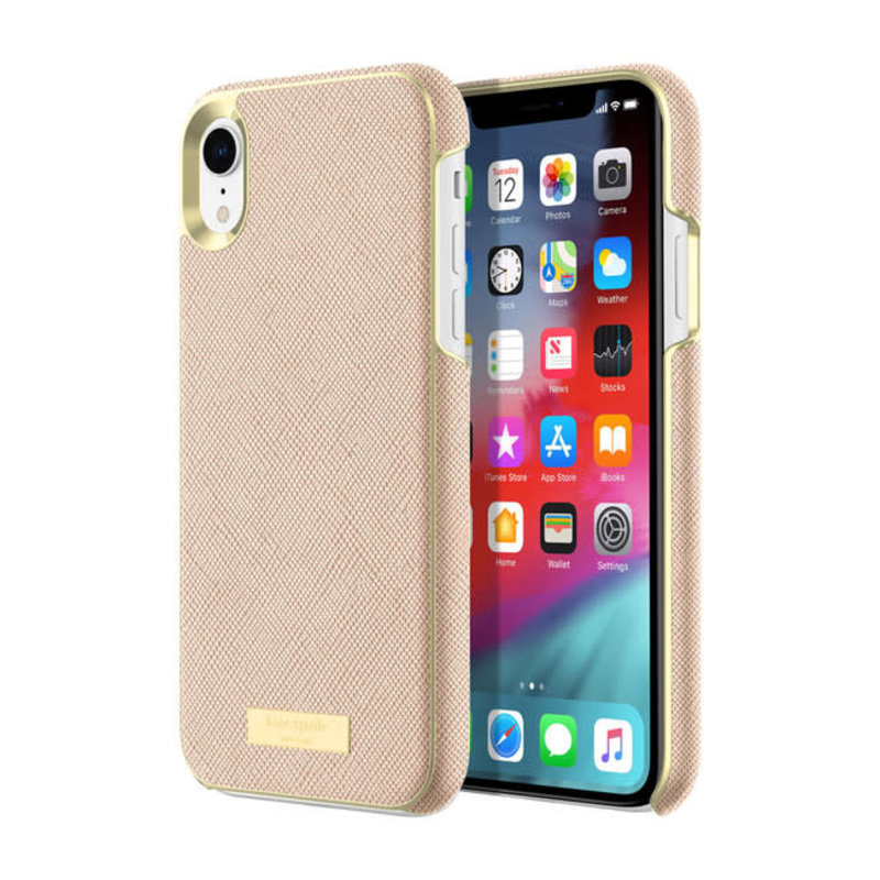 Wrap Case Saffiano Rose Gold Plate for iPhone XR