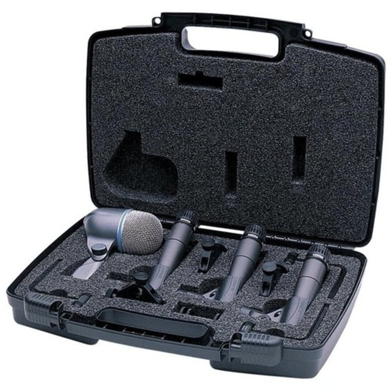 Drum microphone kit. Includes (3) SM57 microphones, (1) BETA52A