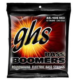 GHS 4-String Bass Boomers, Nickel-Plated Electric Bass Strings - Medium (.045-.105)