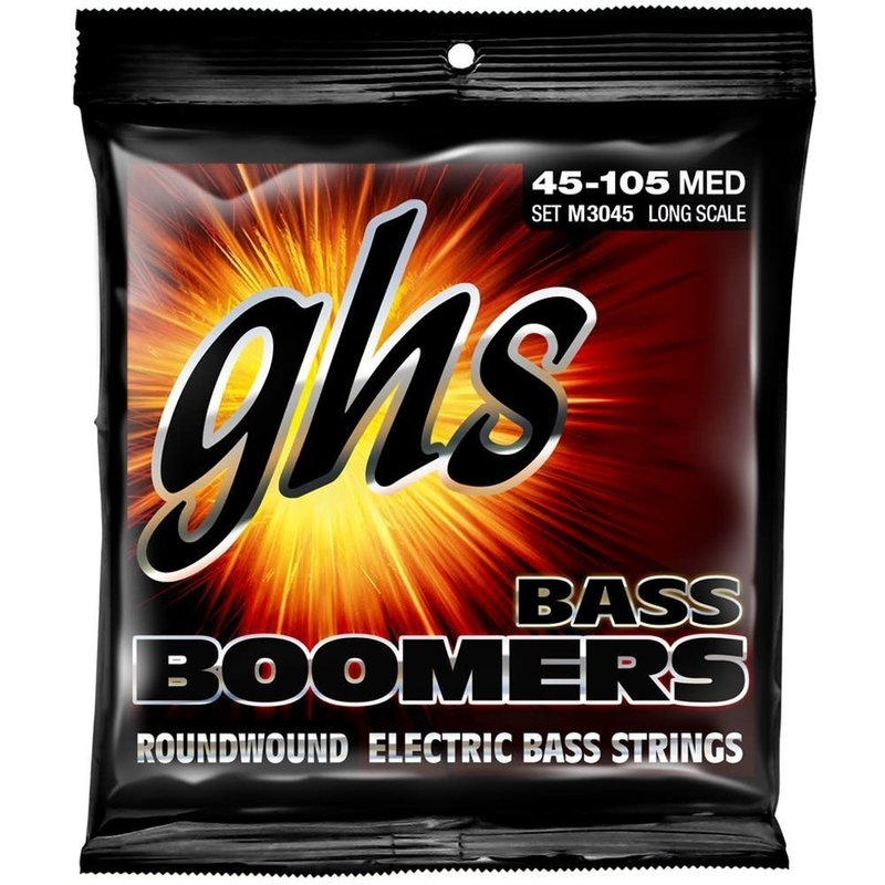 4-String Bass Boomers, Nickel-Plated Electric Bass Strings - Medium (.045-.105)