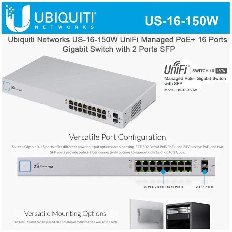 16 port UniFi POE Switch 150w