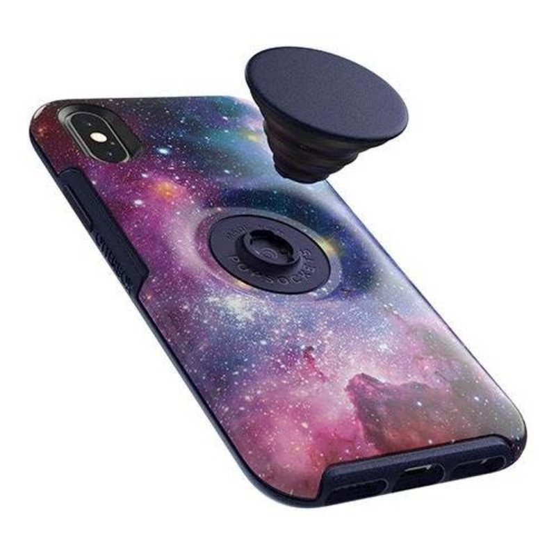 Otter + Pop Symmetry Case with Swappable PopTop Blue Nebula for iPhone XS/X