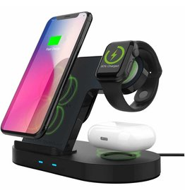 HyperGear 20W Black 3-in-1 Wireless Charging Dock for Phone, Watch & Wireless Headphones