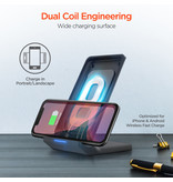 HyperGear HyperGear 10W Black Dual Coil Wireless Fast Charging Stand w/ Fast Charge Wall Charger