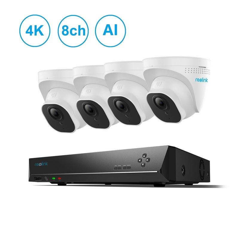 8-Channel 4 Camera 4K AI PoE NVR Kit