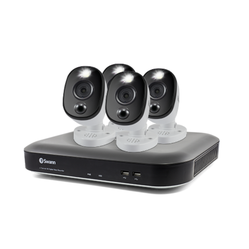 4K Ultra HD 4 Channel 1TB Hard Drive DVR Security System with 4x 4K PIR Outdoor Warning Light Security Cameras