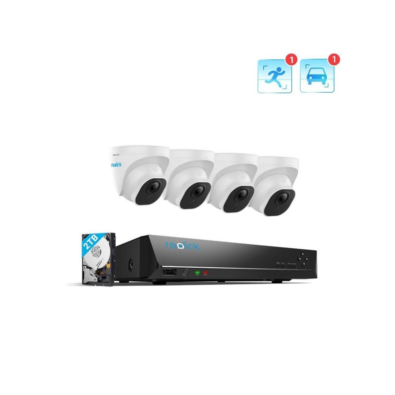 Reolink  8-Channel 4x 5MP Turret PoE NVR Kit with Person/Vehicle Detection