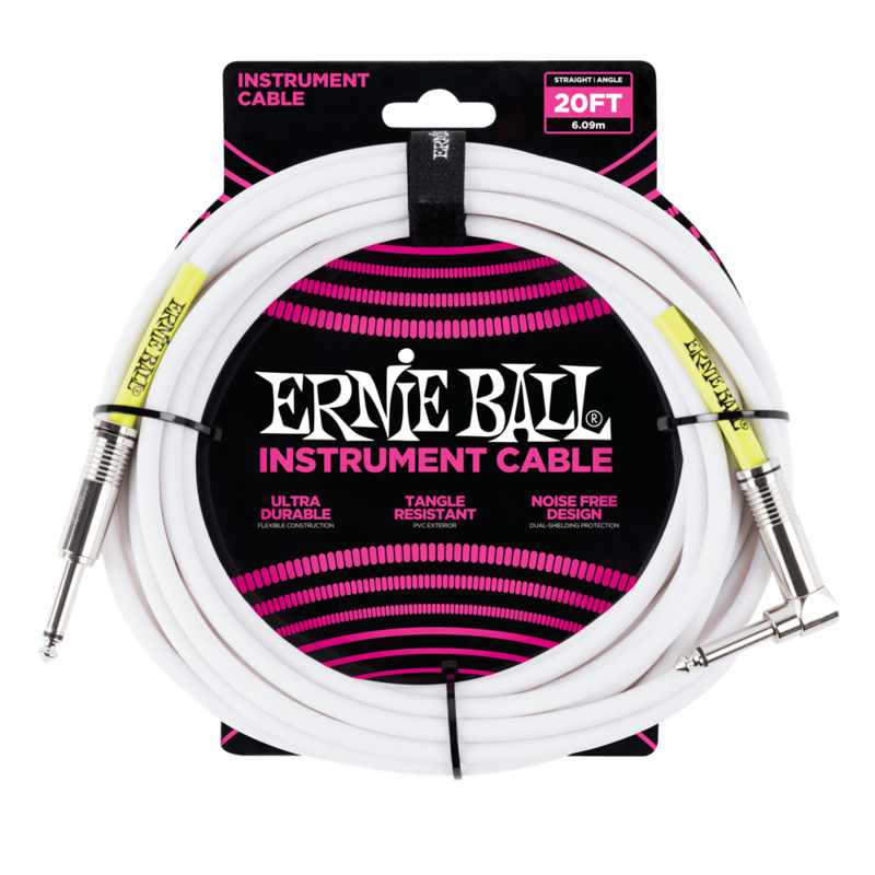 Ernie Ball 20FT STRAIGHT / ANGLE INSTRUMENT CABLE - WHITE