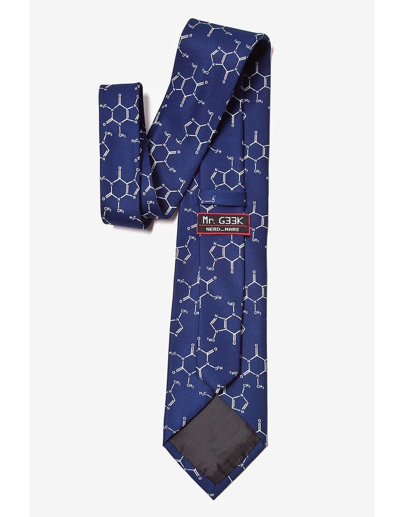 Cravate bleu marine à molécule de caféine