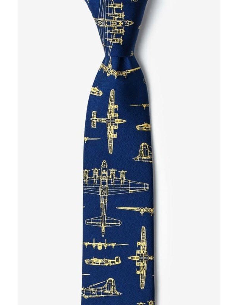 Cravate étroite bleu marine à forteresse aérienne