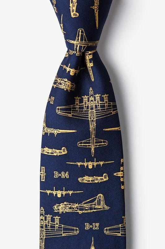 Flying Fortress Navy Blue Skinny Tie