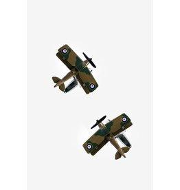 Boutons de manchettes bruns en forme d'avions en vol