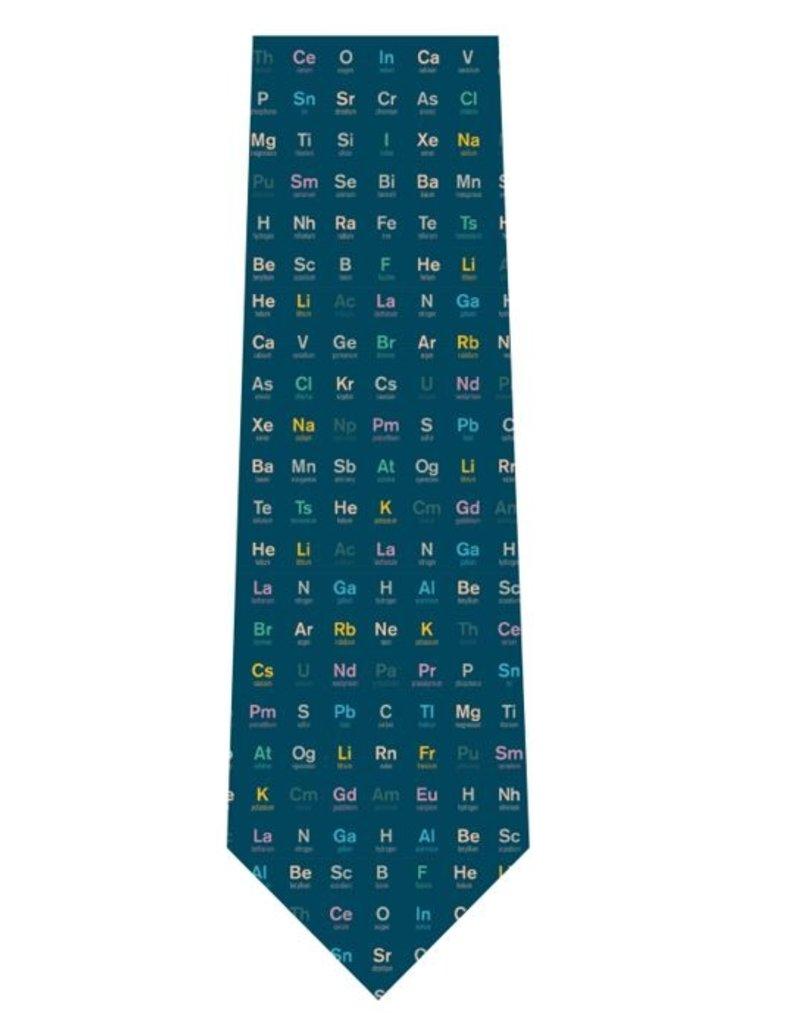 Cravate de soie Tableau périodique - bleu marine
