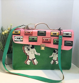 Vintage Leather Cassette Tape Satchel