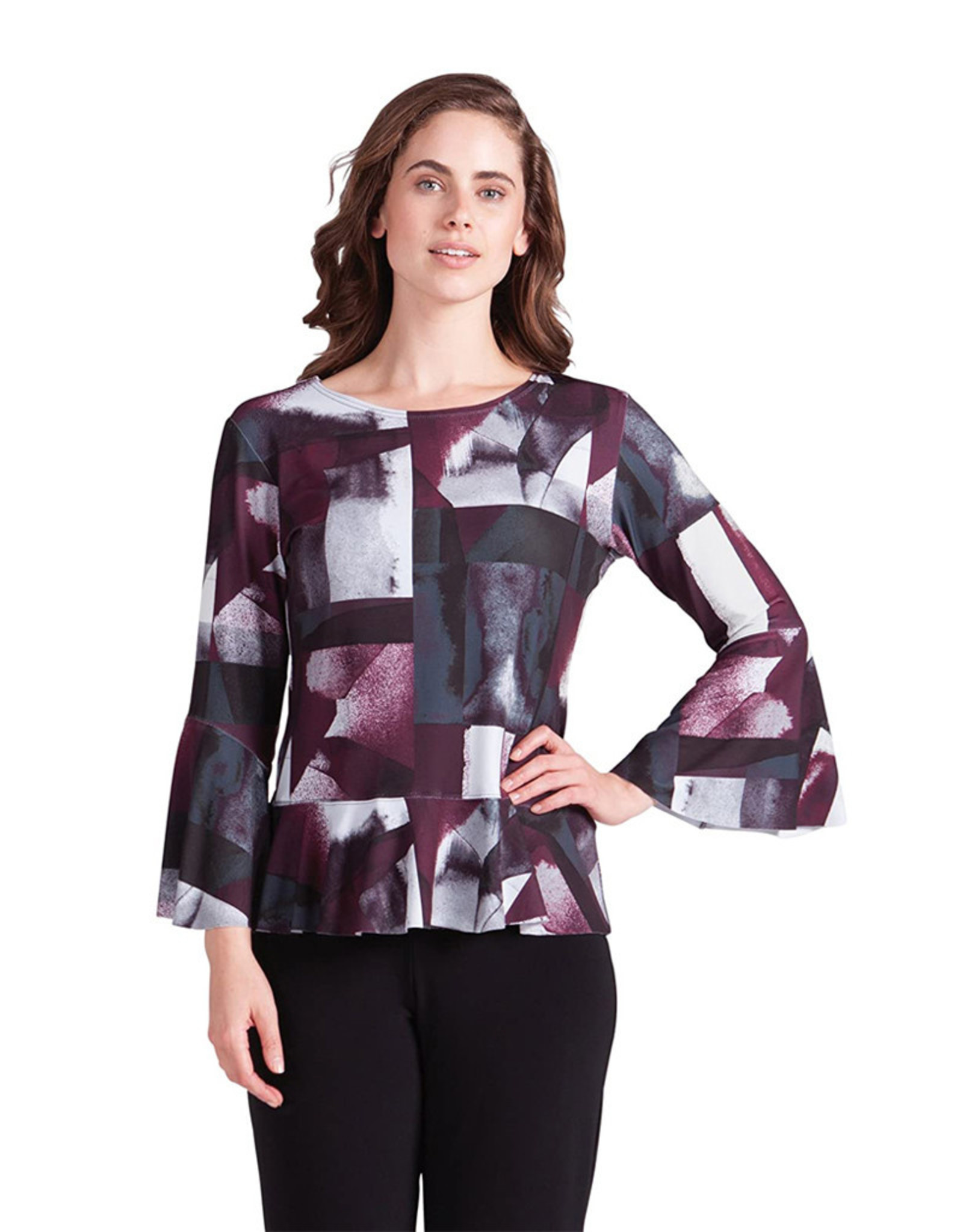 Sympli Nu Peplum Top - Wine Shadow