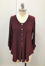 Sympli Unity Henley with Metal Buttons - Wine & Sapphire
