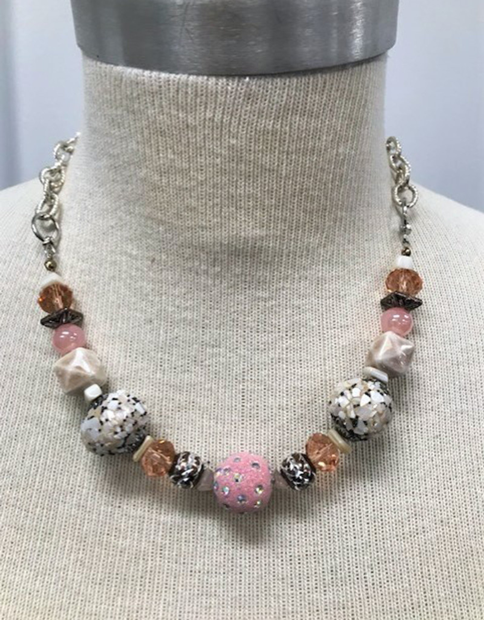 Pink  Glass Beaded Necklace