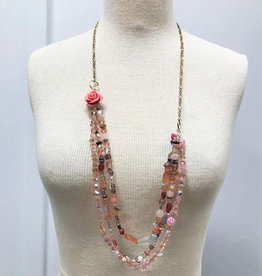 D & D Styling Multi-Strand Rose Beaded Necklace