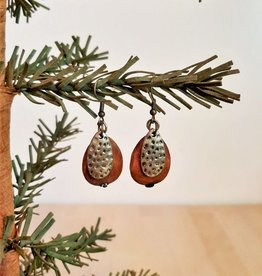 Hammered Copper & Wood Earrings
