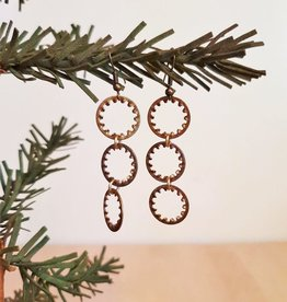 Three Tiered Round Drop Earrings