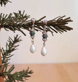 Faux Pearl Tear Drop Glitzy Earrings