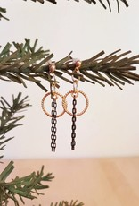 Gold Plated Earrings with Contrasting Chains