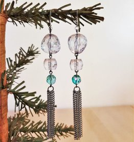 Beaded Earrings with a Chain Tassel
