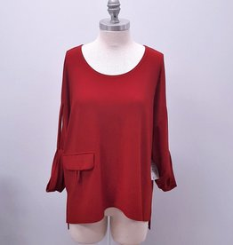 Sympli Top with Pocket & Tab Sleeves - Size 12 (Consignment)