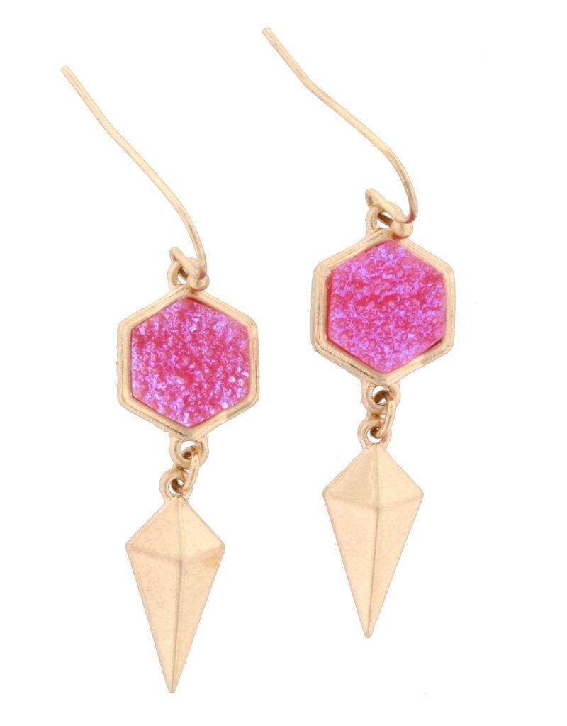 Geometric Pink Stone Earring